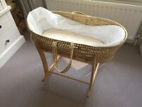 Pine Moses Basket With Stand