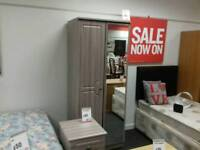 Double wardrobe with mirror in light wood - British Heart Foundation sco39426