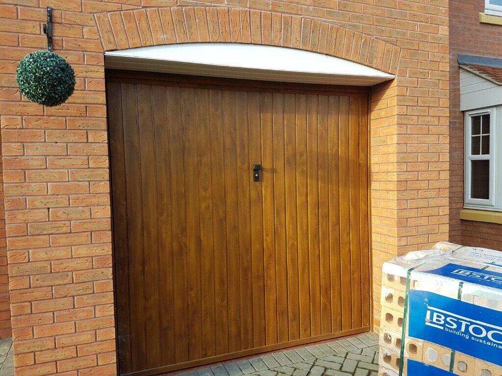 Up and over garage door - Golden Oak Effect Metal Up And Over Garage Door