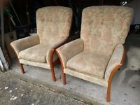 Pair of Matching Highback high back Floral Armchairs Arm Chairs Good Clean Cream
