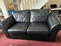 'NEXT' black leather 3 Seater sofa