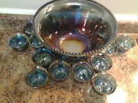 INDIANA BLUE CARNIVAL GLASS PRINCESS PUNCH BOWL SET