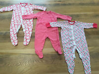 3-6 months baby girls clothes - 3 x Next sleepsuits EUC