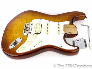 American SELECT Fender HSS Flame Maple Strat LOADED BODY USA Stratocaster Nitro
