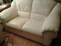 cream leather sofa, two seater
