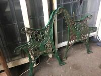 Original Heavy Cast Iron Garden Bench Ends / 4 Sets Available Can Deliver