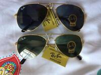 Rayban Aviator sunglasses (golden and black frame)