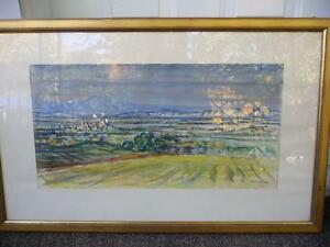 "Heinrich Waser "" Panoramic Landscape"" 1961 Original Watercolor Stratford Kitchener Area image 1"