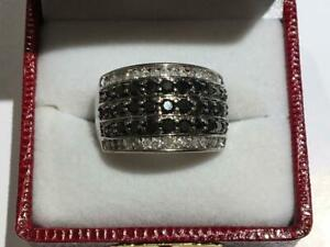 #118 10K LADIES BLACK AND WHITE DIAMOND CLUSTER WHITE GOLD RING *SIZE 9 1/2* JUST BACK FROM APPRAISAL AT $3550.00!