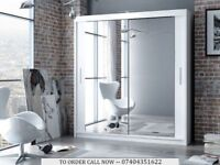 Modern 2 Door Sliding Mirrored Wardrobe Black White Colour