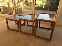 Set of 3 Coffee tables - stackable with glass tops