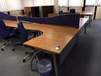 excellent cherry 1.6 meter radial desk with pedstal