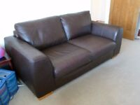 Marks and Spencer Fine Leather Brown 3 Seater Sofa