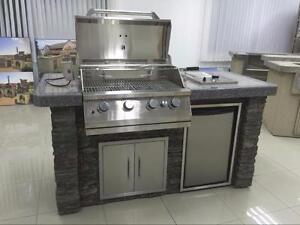 ON SALE ! BlackRock BBQ Outdoor Backyard Barbecue Kitchen With Fridge , Side Burner Rock 40,000 BTU