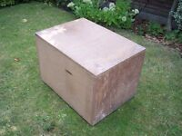 Wooden Storage Box with Fitted Lid - length 70cm width 50cm height 46cm