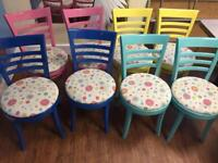 Colourful Painted Wooden Chairs