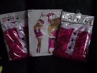 3 pink Santa's babe lady fancy dress costumes