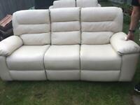NEW Three Seater Reclining Leather Sofa Cream Colour