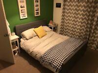 King size grey fabric bed - needs new slats