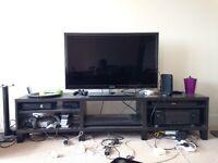 Ikea Besta Tv stand with legs 180 cm wide, black/brown
