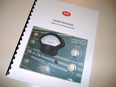 Manual For Bw Model 400 Distortion Meter Barker Williamson Instruction Book