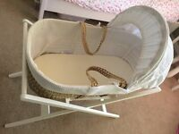 John Lewis Waffle Moses Basket, White Stand, Mattress Covers and Sheets