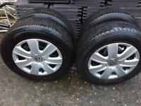 4 wheels 5 stud nearly new 175/70/14 tyres & wheel trims