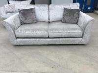 Silver crushed velvet large 2 seater sofa