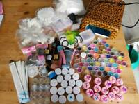 Enormous gel nail bundle with UV lamp, gels and accessories