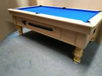 Beech Pub Pool Table. 7x4 Slate Bed. Coin Operated. New Recover & New Accessories. Local Delivery.