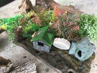 Fish tank wood plants and bits