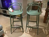 TWO Kartell Masters Stools Sage BRAND NEW RRP £258 each. Designer Bar Stool Philippe Starck