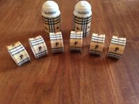 Burberry condiment set and napkin rings