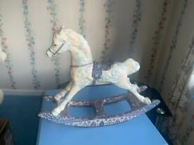 Porcelain rocking horse ornament