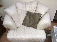 White leather large chair x2