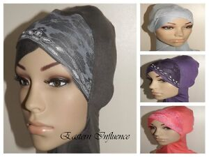 NEW-HEAD-CHEST-NECK-NINJA-LACE-UNDER-HIJAB-HAIR-COVER-BONNET-BONE-SLIP-ON-CAP