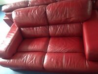 Harvey's red leather sofa 3&2