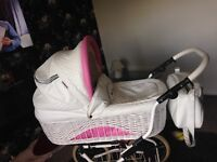 Beautiful Pink and white leather wicker pram