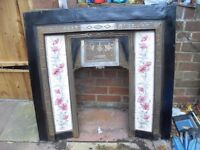 CHEAP CAST IRON TILED FIREPLACE IN EXCELLENT CONDITION