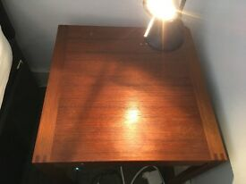 2x teak bedside tables (+halogen reading lamps)