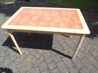 Lovely large kitchen or dining room table - VGC - 1200 mm X 750 mm retro wood wooden with tiled-top