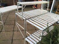 2 double tier aluminium greenhouse stagings, lightweight VGC