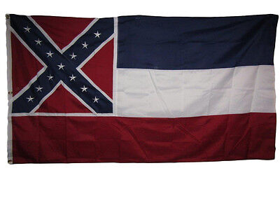 5x8 Embroidered Sewn State of Mississippi Synthetic Cotton Flag 5'x8' Clips