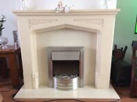 Cream marble composite fireplace/surround and fire