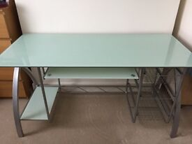 Glass desk with leather office chair