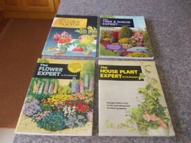 Four garden books Houseplant/flower/tree and shrub and Garden doctor