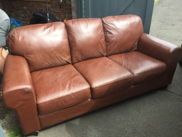 Fine Leather 3 Seater Sofa Couch Living Room Conservatory Flat Machost Co Dining Chair Design Ideas Machostcouk