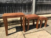 Nest of Tables/Coffee Tables - Hand Crafted, 100% Indian Sheesham Wood (Fair Trade)