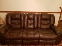 *** RECLINER MAHOGANY LEATHER SOFA FOR SALE ***