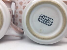 Retro Denby Coffee Set in Pink and Grey - Very Pretty